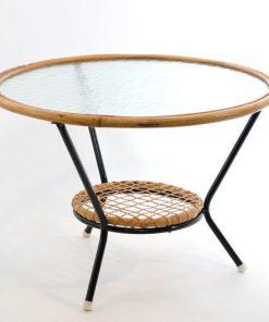 VF02- Rotan salontafel jaren 50 - VERKOCHT