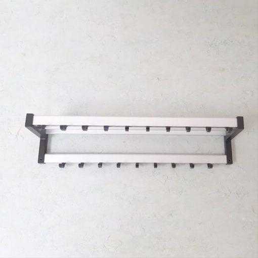 RH22- WandKapstok - Jaren 70 - Aluminium - Kapstok