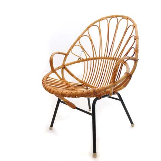 VG34. Rotan stoel - jaren 50 VERKOCHT