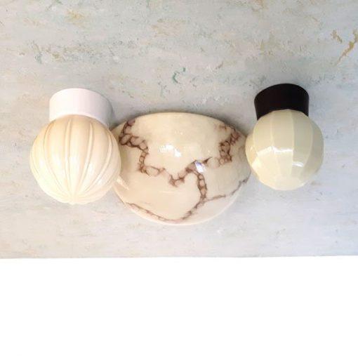 SF39 - Plafondlamp - Halve bol - gemarmerd glas- VERKOCHT