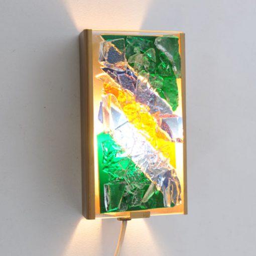 VH47- Raak Muurlampje met glasstukken VERKOCHT