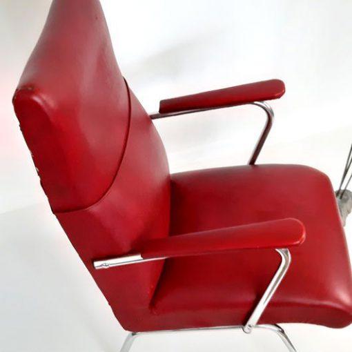 SH48 - Fauteuil rode skai jaren 60 - chromen buis meubel